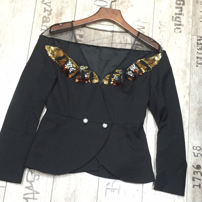 2019 New Heavy Industry Nailing Beads Splice Sexy Gauze Long Sleeved V Collar Shirt Self-fitting Coat Blouse Fashion Black Suit