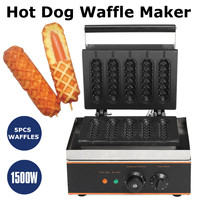 220V Commercial Use Electric 6 pcs corn hot dog waffle maker machine non stick EU US adapter plug Stainless Steel Holder