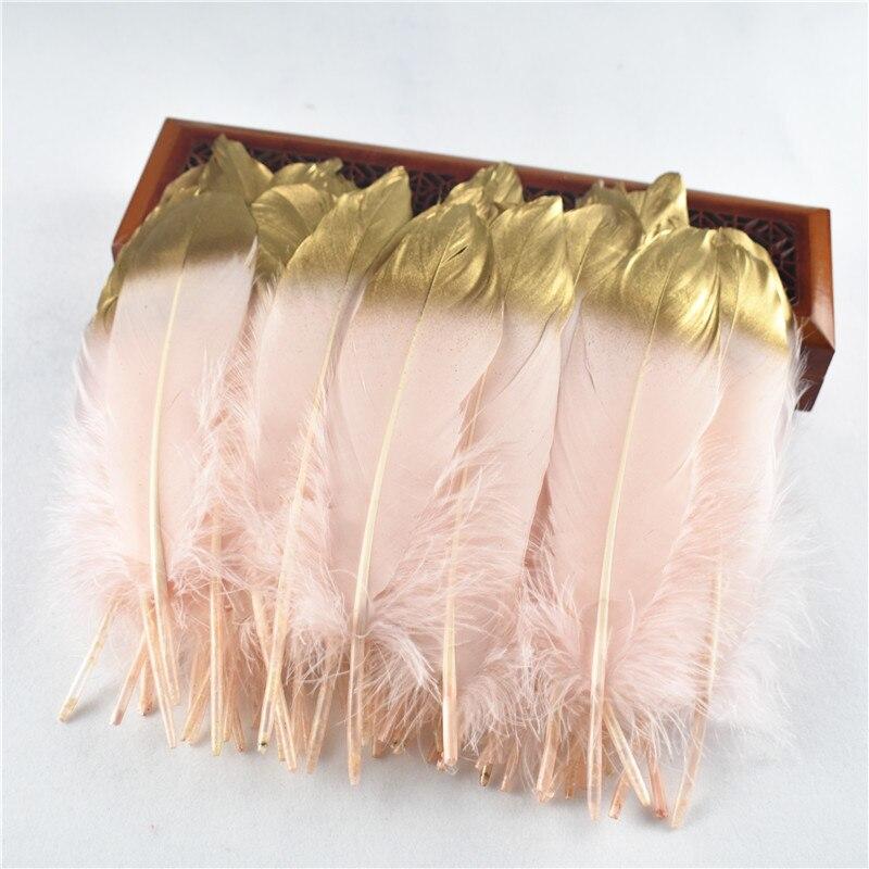 Commercio all'ingrosso 10 pz/lotto oro piume d'oca 15-20 cm/6-8 pollici Per Artigianato Decorazione Accessori plume decorazione di Cerimonia Nuziale