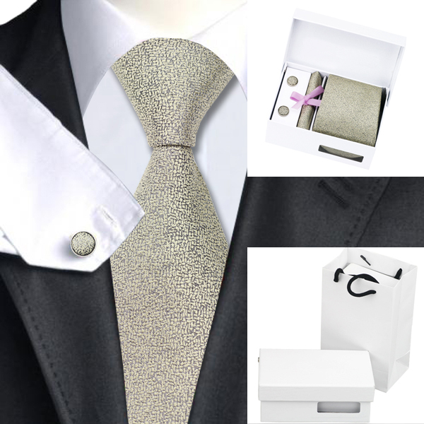 Novidade Metálicos Do Pescoço Dos Homens Gravatas de Lenço Abotoaduras com Caixa Branca Saco de Seda Laços Para Homens B-1154 Gravatas Gravata De Seda