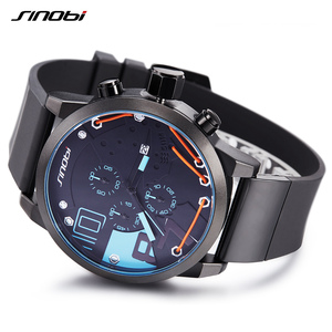 Image 5 - 2020 Metal Wire Top Brand Multifunction Full Steel Quartz Clock Sinobi Racing Sport Men Chronograph Watch Male Relogio Masculino