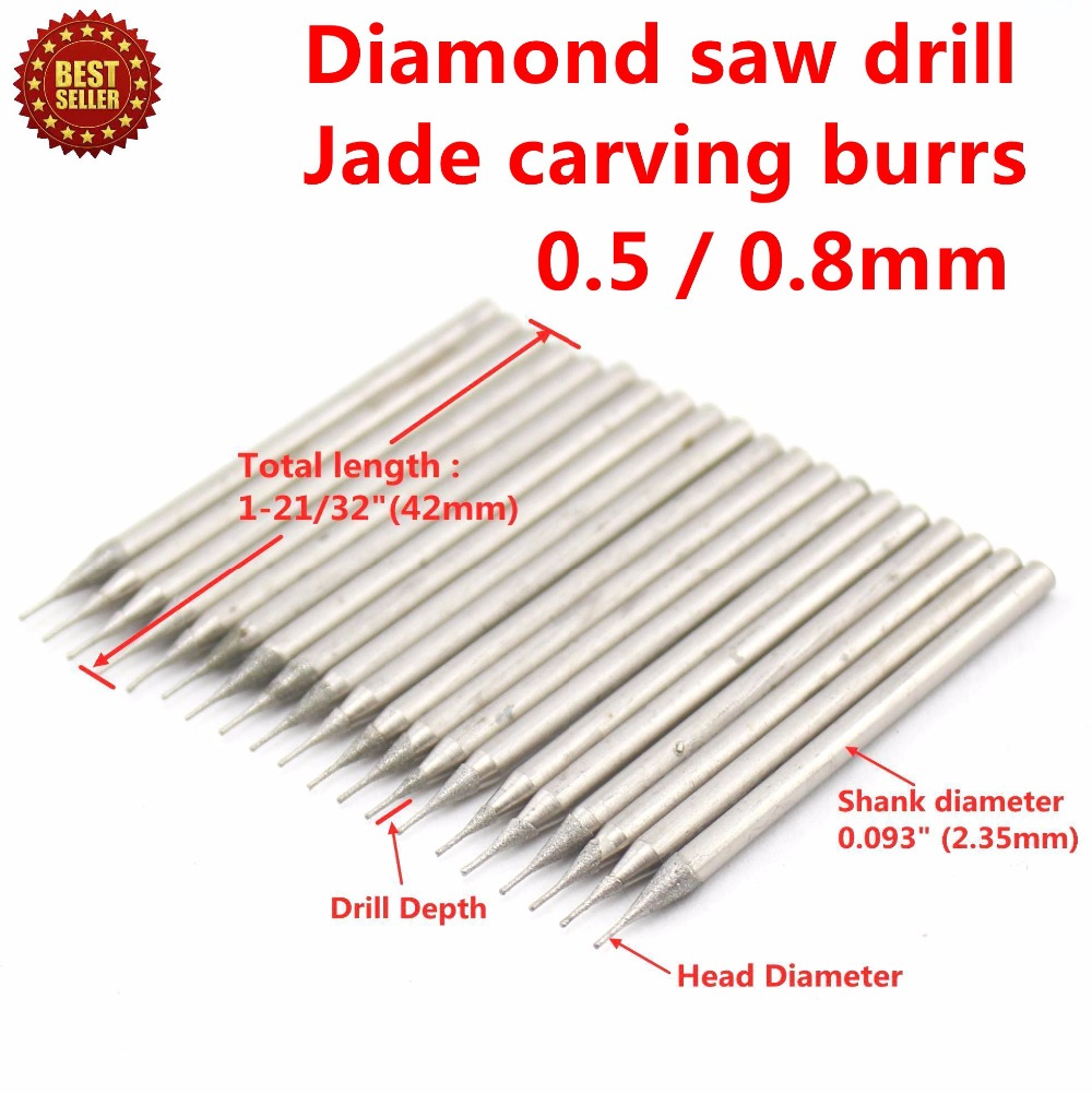 30 Pcs Diamètre 0.5mm / 0.8mm Galvanoplastie Diamant Enduit Scie - Foret - Photo 4