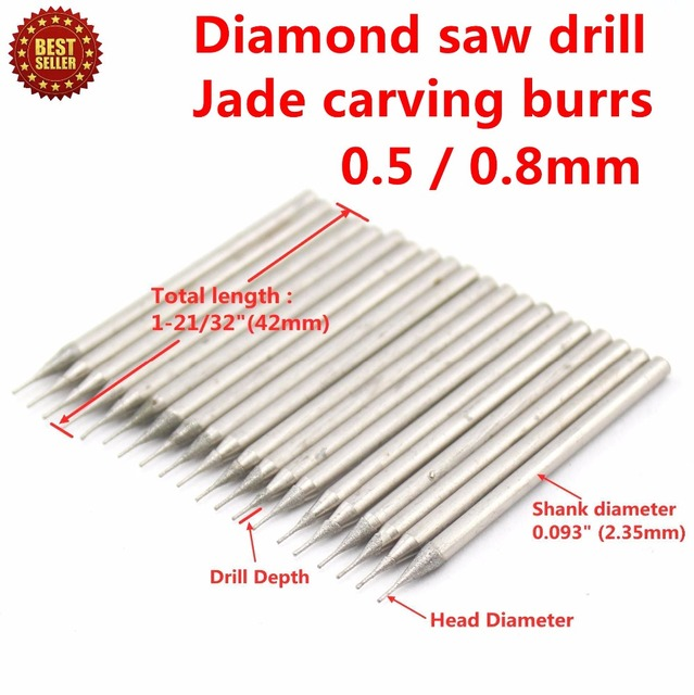 Jewelry Gems Glass Ceramic Marble Granite 30Pcs Diameter 0.5mm/ 0.8mm Electroplated Diamond Coated Hole Saw Drill Solid Bits