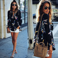 Womens Floral Printing Loose Casual Long Sleeve Chiffon Shirt Female Summer Tops Plus Size Business Blouse Blusa Feminino 2016