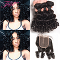 Top Grade Aunty Fumi Short Virgin Brazilian Curly Hair With Closure 3 Bundles Brazilian Hair Weave Bundles With Closure Egg Curl