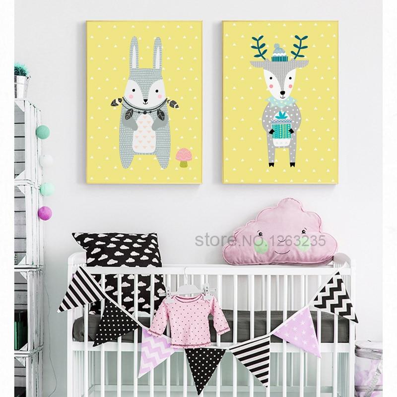 Rabbit Bear Deer Yellow Cartoon Nursery Poster Wall Art Canvas ...