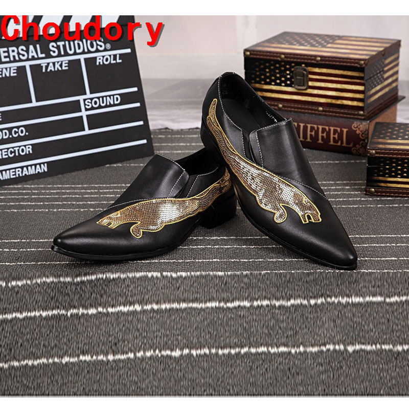 Choudory mens pointed toe dress shoes slip on loafers handmade summer dress leather shoes elegant  men prom shoes