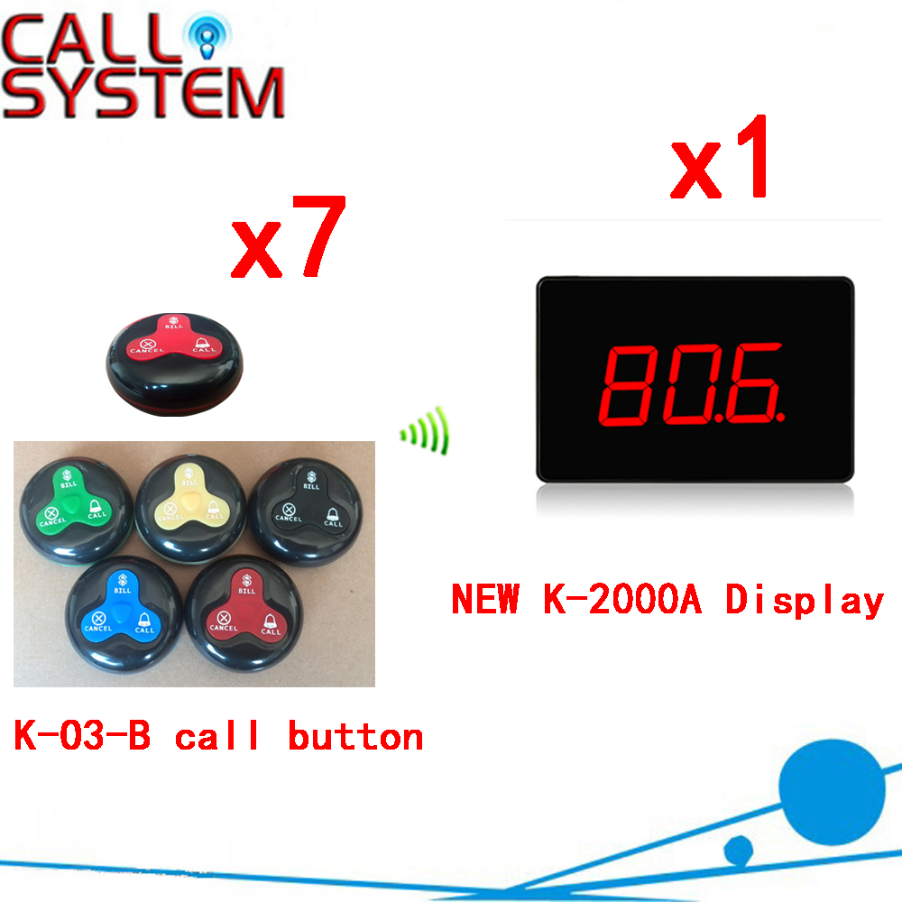 Wireless Calling System New Hot 100% Waterproof Pager Restaurant Service Waiter Calling Full Equipment(1 display+7 call button) 433 92mhz wireless restaurant guest service calling system 5pcs call button 1 watch receiver waiter pager f3229a