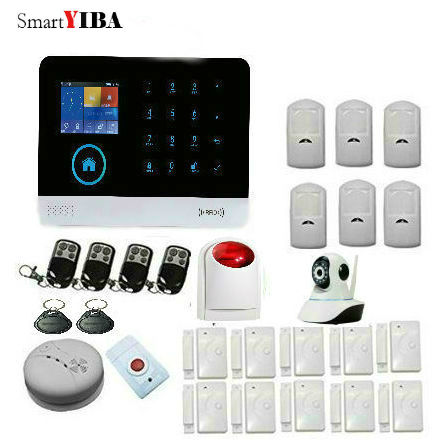 SmartYIBA WiFi GPRS GSM Alarm System Wireless Strobe Siren Alarma Kits Camera Protection Smoke Sensor Motion Detection Alarmes