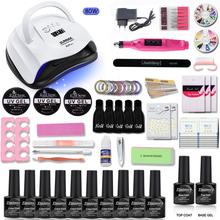 80/54W Nail Set UV LED Lamp With 10pcs Gel Polish Kit Soak Off Manicure Tools electric drill For Art