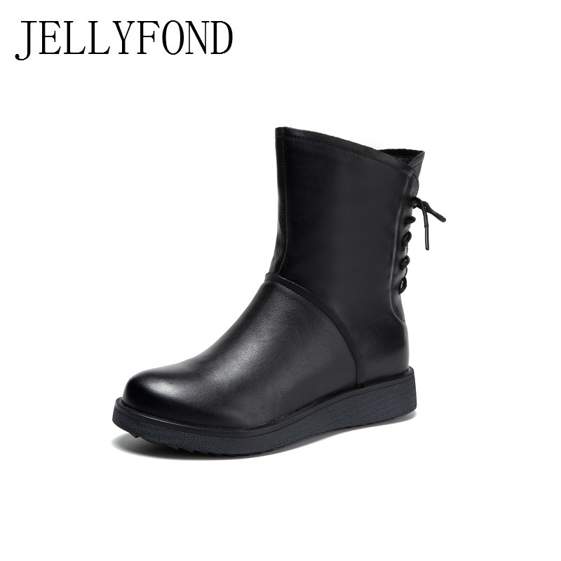 European Style Black Genuine Leather Women Platform Boots Back Lace Up Mid-Calf Motorcycle Boots Designer Winter Shoes Woman black sequins embellished open back lace up top
