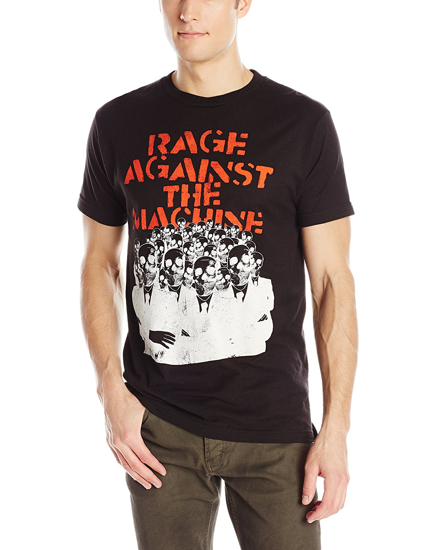 FEA Merchandising Mens Rage Against The Machine Skeleton Heads T-Shirt