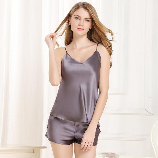 f808ae3ebb Sexy sleeveless 100% silk women shorts pajamas sets pure color elegant  spaghetti strap ladies nighty Summer short pyjamas women