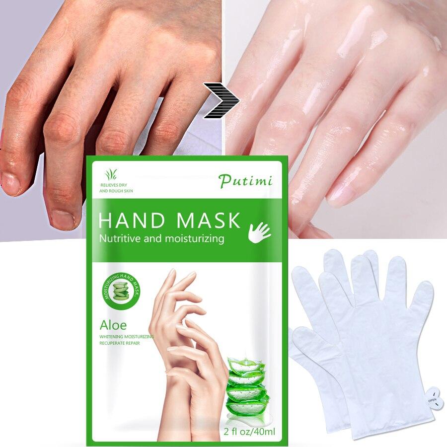 3Pair Aloe Hand Mask Hyaluronic Acid Skin Whitening Mask Moisturizing Gloves Paraffin Gloves Anti Dry Rough Hand Care Spa Gloves