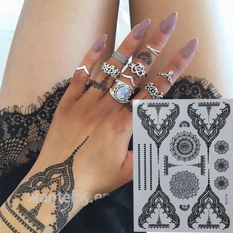 Довольно временные Черный татуировки хной Водонепроницаемый Для женщин Средства ухода за кожей татуировки Наклейки