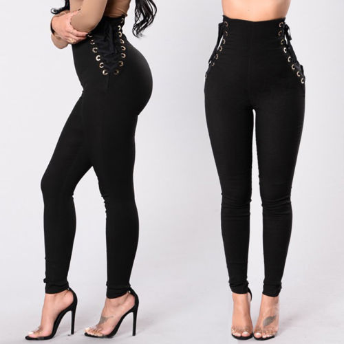 2019 Summer New Womens Solid Lace Up Leggings High Waist Long Skin  Pants Casual Women Trousers