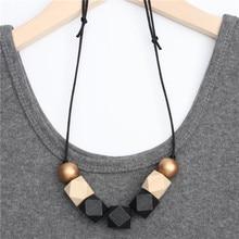 1 шт., новое деревянное геометрическое ожерелье, окрашенное массивными гранеными деревянными бусинами, шар, массивный кожаный шнур, коричневый, черный цвет, е2070