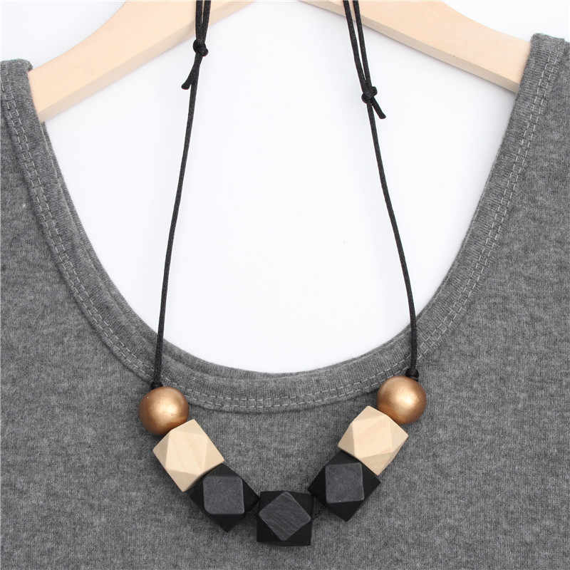 1pc New Wood Geometric Necklace Painted Chunky Faceted Wooden Beads Ball Chunky Leather Cord Brown Black Statement E2070