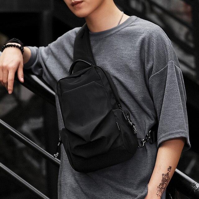 Sling bag for Men Fashion Chest Pack Cell Phone Bag cross body bag Men Water Repellent Shoulder Bag Male Black 5036