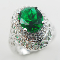 Simulated Emerald White Crystal Zircon 925 Sterling Silver Ring Size 7 8 9 A21