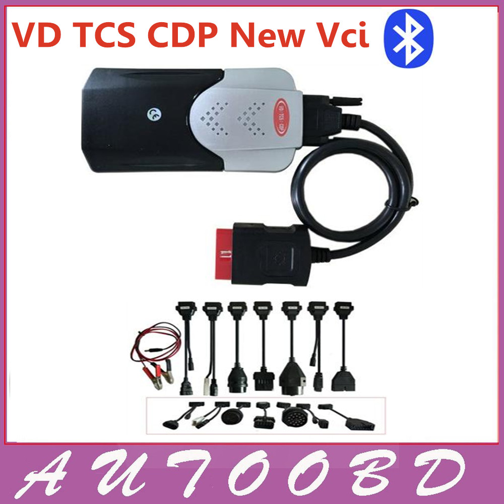 2014 R2 New vci VD TCS CDP PRO Plus 3in1 +Carton box +Multi-language+Bluetooth CDP Full Set 8pieces Car Cables Via DHL Freeship