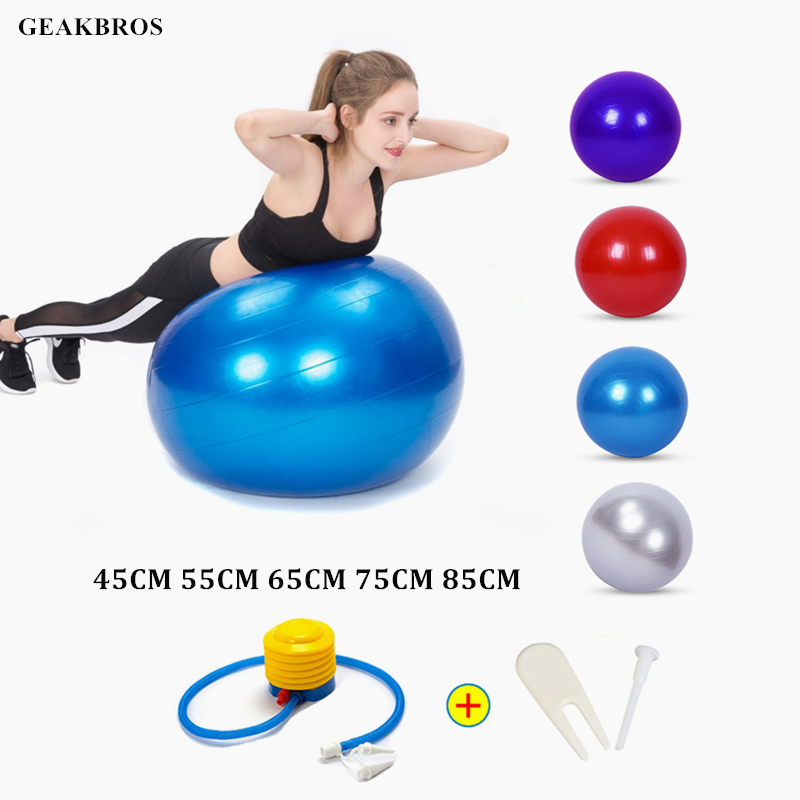 Fitness-Ball Pump Yoga-Balls Gym Balance Exercise Pilates 65cm Sports Bola with 55cm