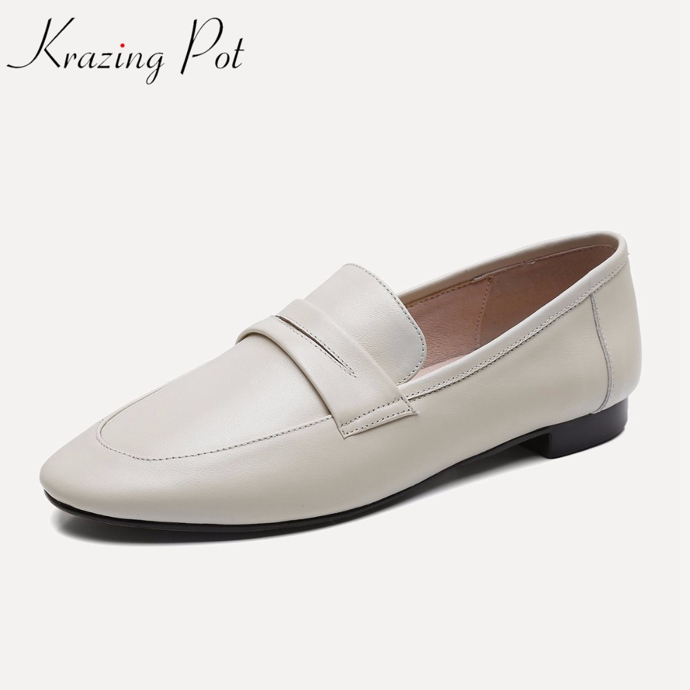 Фотография KRAZING POT soft genuine leather original design low heels women simple concise style pumps round toe grandma glove shoes L19