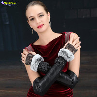 Yeni kadın deri eldiven Rex Tavşan koyun koyun uzun dantel yüksek elastik yarım parmak eldiven uzun 45 CM 3 stil seçenekleri