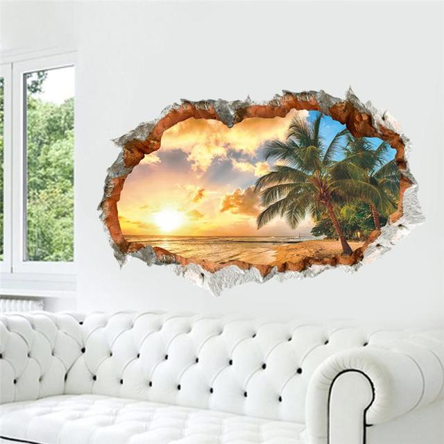 sunset sea beach wall decals decorative stickers living bedroom home decor 1483. 3d scenery mural art diy landscape posters 2.5
