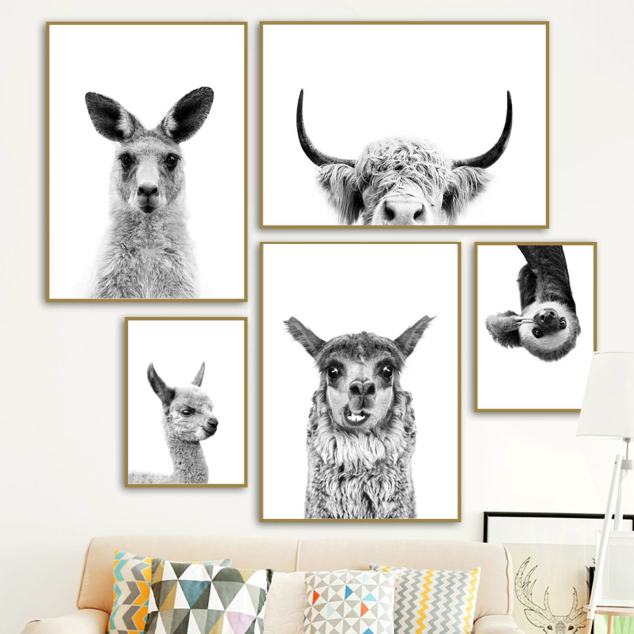 Black White Kangaroo Alpaca Yak Otter Sloth Wall Art Canvas Painting Nordic Posters And Prints Wall Pictures Kids Room Decor