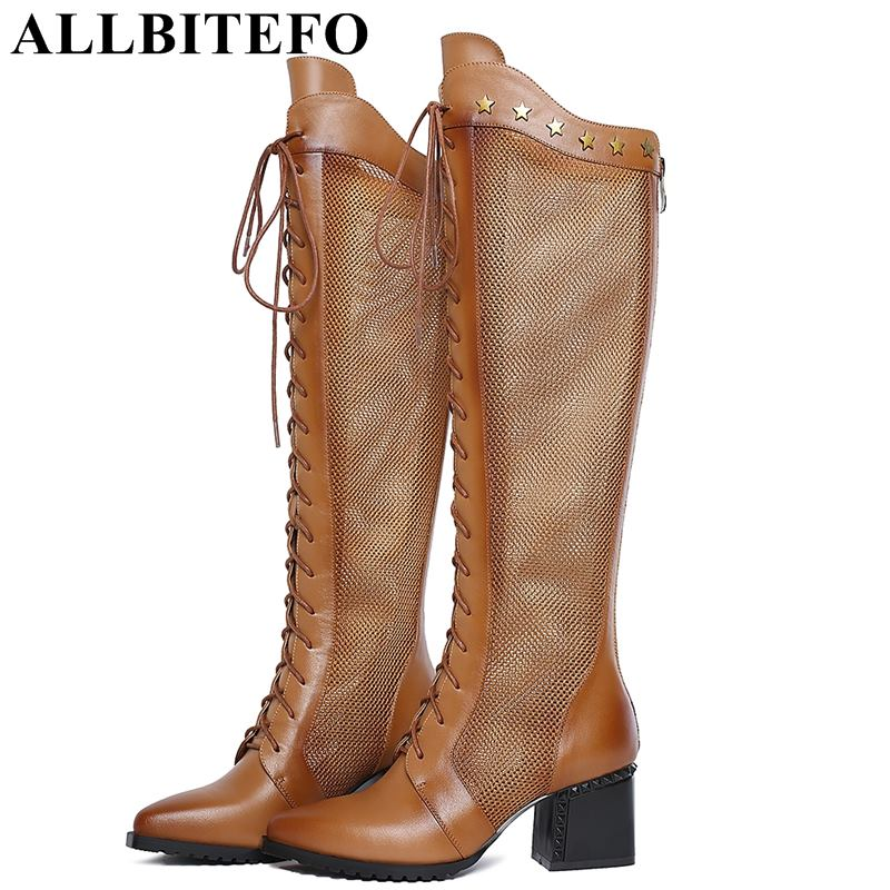 ALLBITEFO size:34-42 genuine leather+net women high heeled shoes fashion rivets thick heel summer women boots girls shoes small yards autumn 16 30 31 32 33 plus size 40 41 42 43 genuine leather thick heel single shoes women s high heeled shoes