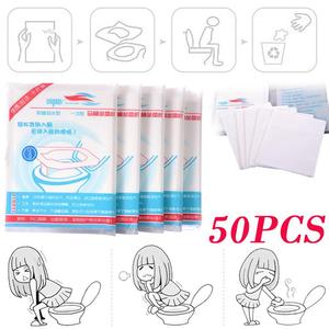 50pcs/lot Portable Disposable Health Toilet Seat Paper Cover Waterproof Toilet Seat Cushion Native Wood Pulp for Out Traveling(China)