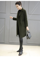 2019 Army green long wool woolen cloth cocoon shaped spring and autumn new hot womens winter coats