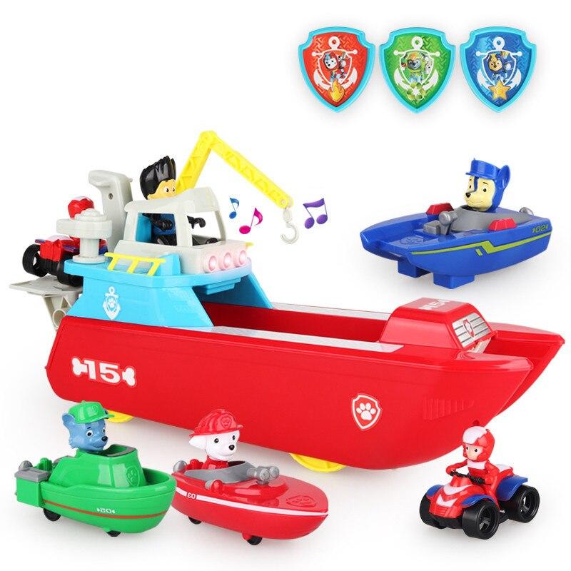 Pat' patrouille chien bateau de sauvetage marin Anime enfants jouets ensemble avec musique Patrulla Canina figurine d'action enfants cadeaux
