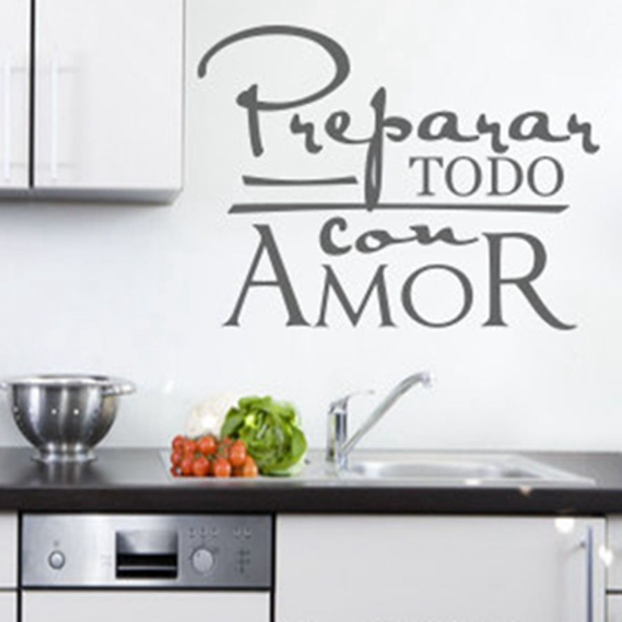 8d7e7f4f2 الشحن مجانا المطبخ جدار الفن اقتبس ملصقات ل اسبانيول الاسباني/ديكور غرفة  الغسيل ، الأسبانية جدار صائق زخرفة المنزل