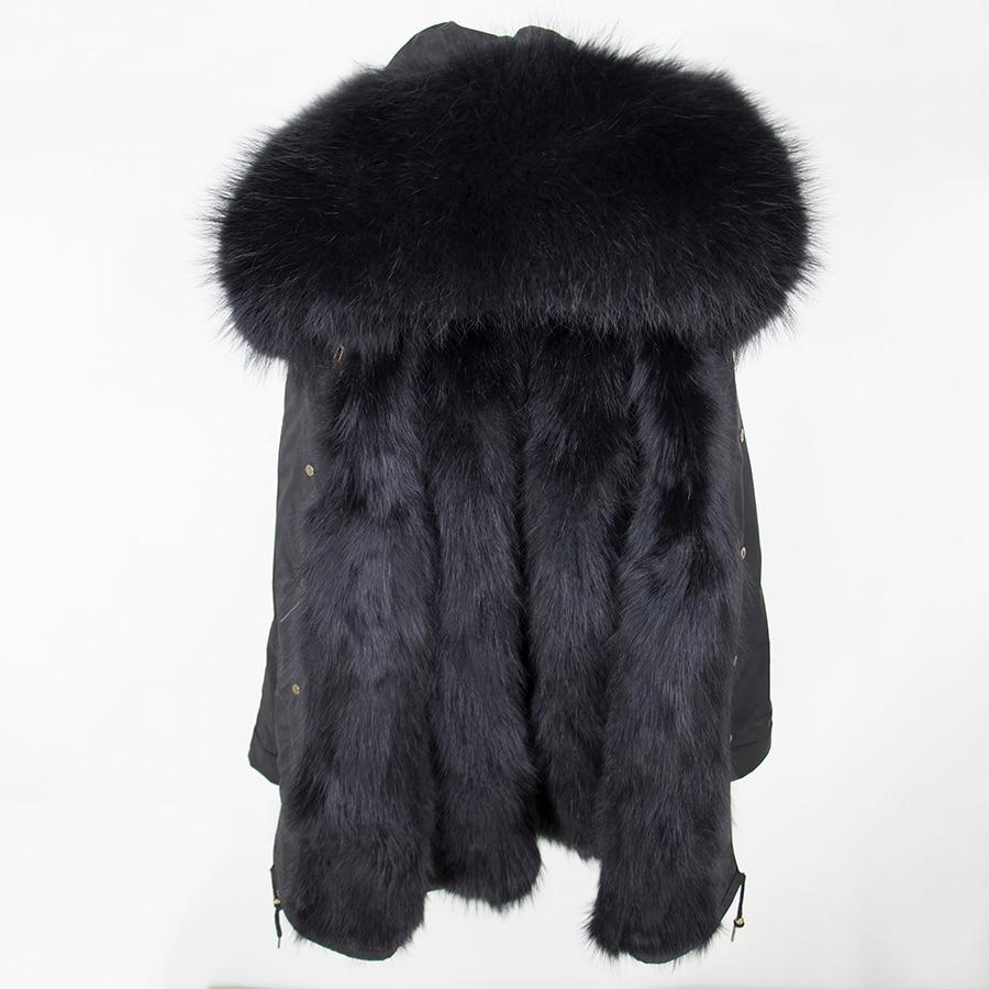 2019 Real Fur Coat Winter Jacket Women Long Parka Waterproof Big Natural Raccoon Fur Collar Hood Thick Warm Real Fox Fur Liner 103
