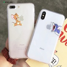 KONGREY Cartoon Silicone Phone Case For iPhone 7 8Plus XS MAX XR Soft Cute personality Cat and mouse Cover iPhoneX 6 6s Plus