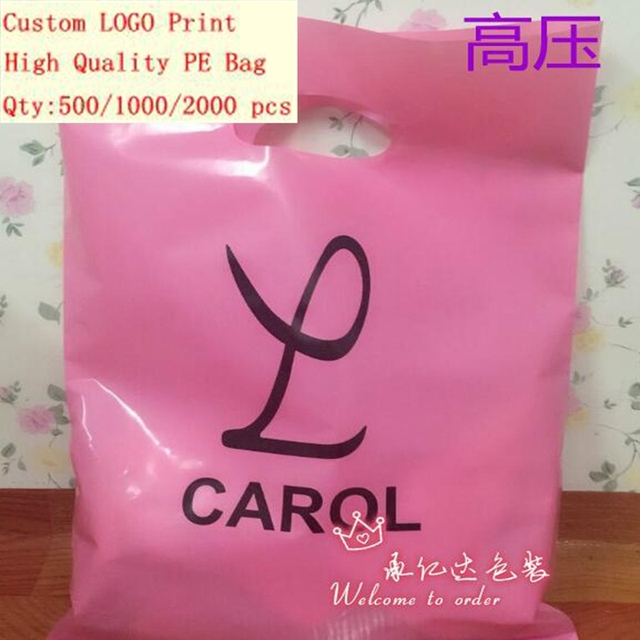 25*35cm Custom print plastic bags packaging gift bag for shopping garment handle carrier logo brand designed PE bags Wholesale & 25*35cm Custom print plastic bags packaging gift bag for shopping ...