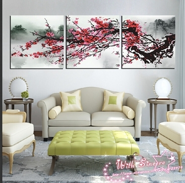 3 Pieces Canvas Print Wall Art Painting For Living Room Art Picture Plum  Abstract Flower White Part 33