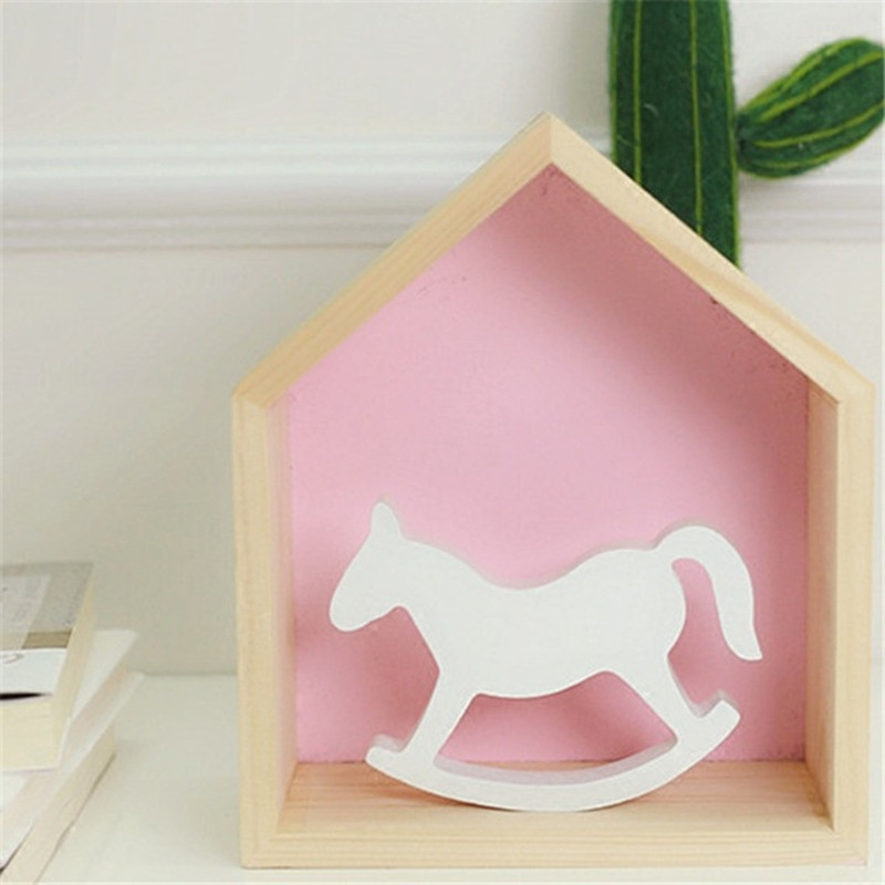 White Wooden Small Rocking Horse Balance Home Decor Kids Toys Wood Hand Carved Gifts Childrens Room Decoration Crafts GPD8353
