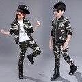 Детская одежда набор для мальчиков девочек камуфляж спортивные костюмы хлопка детей костюмы весна осень спорт 4 6 8 10 12 14 года