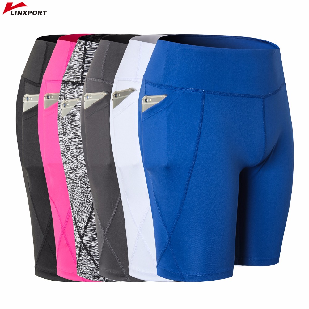 Women Cycling Tights Skinny Yoga Shorts Fitness Gym Athletic Workout Running Capris QuickDry Training Short Clothing with Pocket