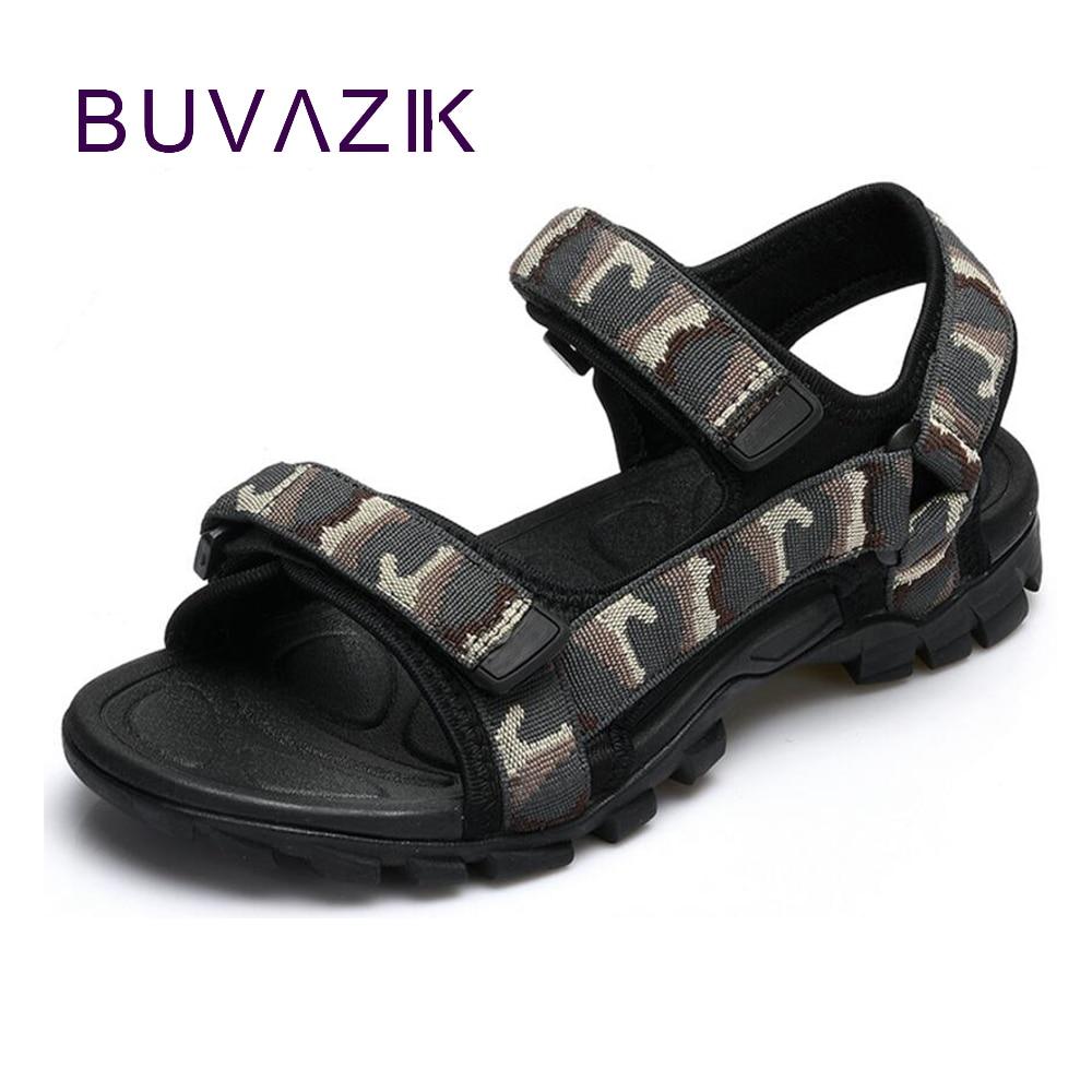 2017 mode kamouflage sommar män casual sandaler andas krok herr manliga strand skor stor storlek 44 45 gratis frakt