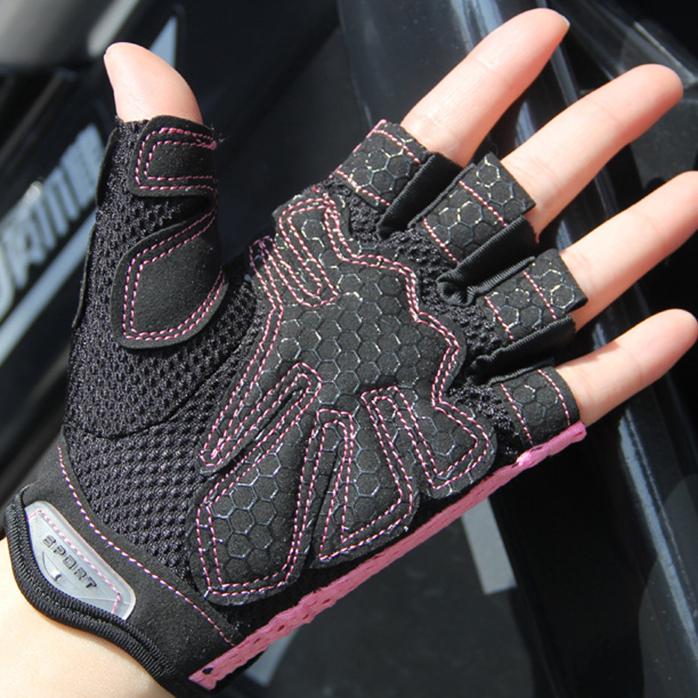 Silicone Anti-slip Palm Fitness Gloves Women Adjustable Breathable Weightlifting Bodybuilding Sports Training Half Finger Gloves
