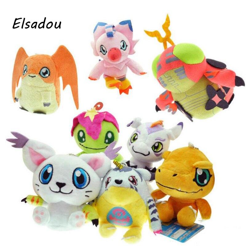Elsadou 8 pcs/ensemble Digimon Adventure En Peluche Jouets 12 cm Agumon Gabumon Gomamon Biyomon Palmon Patamon Numérique Monstre En Peluche Poupées