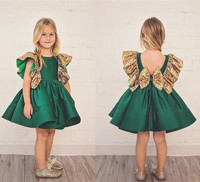 Dark Green Flower Girls Dresses With Bow Knot gold Sequins Backless Satin Girls Pageant Gowns Knee Length Sleeveless prom dress