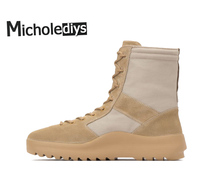 Micholediys New Arrival Military 5CM Thick Jungle Boots Strap Coconut Nubuck Leather Hiking Sneakers Kanye West Shoes