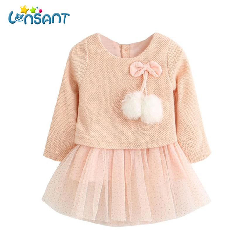LONSANT 2018 Winter Newborn Girls Princess Vestidos Cute Mesh Girls Long Sleeve Dresses Vestido De Festa Infantil Dropshipping be natural средство с запахом апельсина для удаления натоптышей callus eliminator orange 120 г