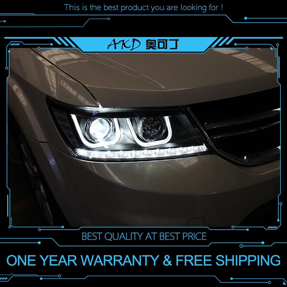 AKD tuning auto Faro Per Dodge Journey Fiat Freement Fari A LED DRL Corsa e Jogging luci Bi-Xeno del Fascio luci di Nebbia angel eyes