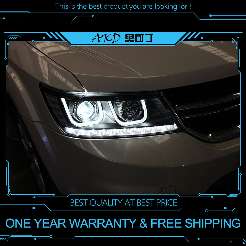 AKD tuning voitures Phare Pour Dodge Journey Fiat Freement Phares LED DRL feux Bi-xénon Faisceau brouillard ange yeux